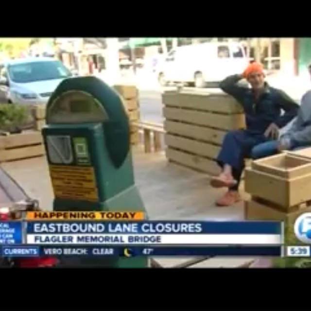 Have you visited the new parklet in #DowntownWPB? Created by local husband and wife art duo, LeJobart, the parklet will stay in front of @roccos_tacos until it moves to Datura Street next month. WPTV​ ​stopped by this week to visit this new addition in downtown. #parkletwpb