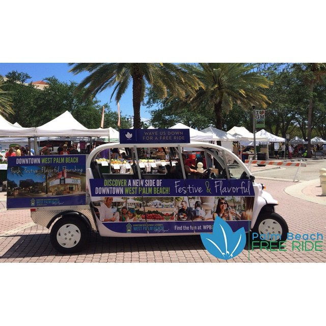 Day 11 of #31daysindowntownwpb: Catch a free ride to and from, in and around #DowntownWPB with @pbfreeride. Hop on board 11 a.m. to 8 p.m. throughout the week and even later on weekends!  All you need to do is flag them down or wait at one of their stops, hop in and enjoy #thefreeride: bit.ly/31DaysWPB #ilovewpb