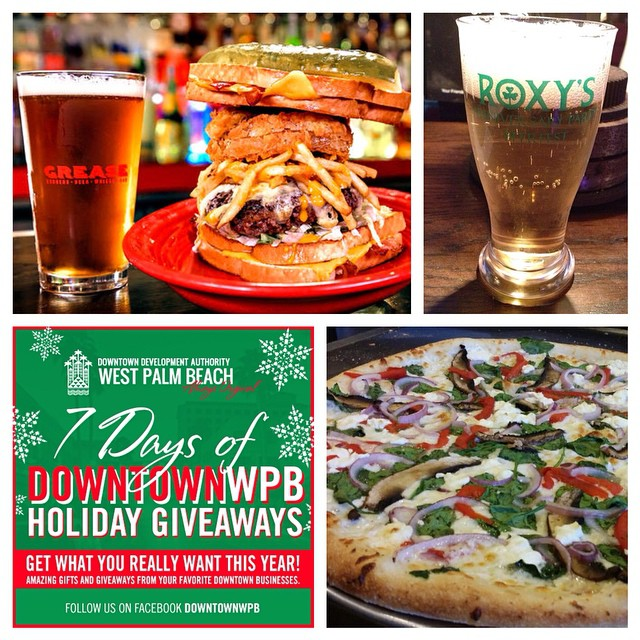 Holiday Gift Giveaway #2: Your next pizza and round of drinks is on us. Head to our Facebook page and simply like or comment on today's giveaway for your chance to win a $50 gift card to the #DowntownWPB bar of your choice - like Roxy's Pub or @greaseburgerwpb - plus a $25 gift card to a great downtown pizza place such as @pizzagirlswpb. #ilovewpb #soflo #wpb #7GiftsDowntownWPB