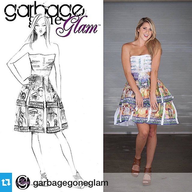 Love our #DowntownWPB fashion-inspired dress by @garbagegoneglam ❤️♻️? #Festive #Flavorful #Flourishing #Fresh #garbagegoneglam #palmbeach #downtownwpb #fashion #style