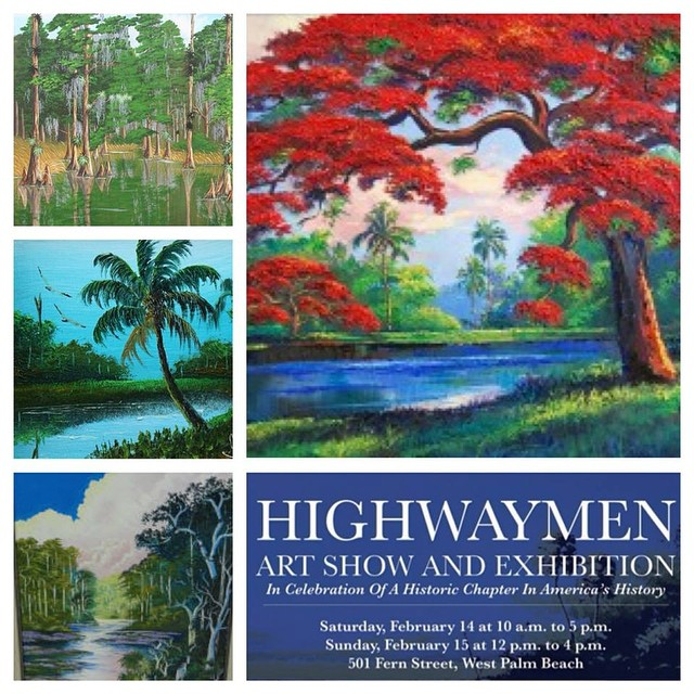Come to 501 Fern Street in #DowntownWPB this weekend to view the celebrated works of Florida's legendary African-American landscape artists at the Highwaymen Art Show and Exhibition. bit.ly/1DJ1QaJ #higwaymen #art #landscape #wpb #SoFlo #painting