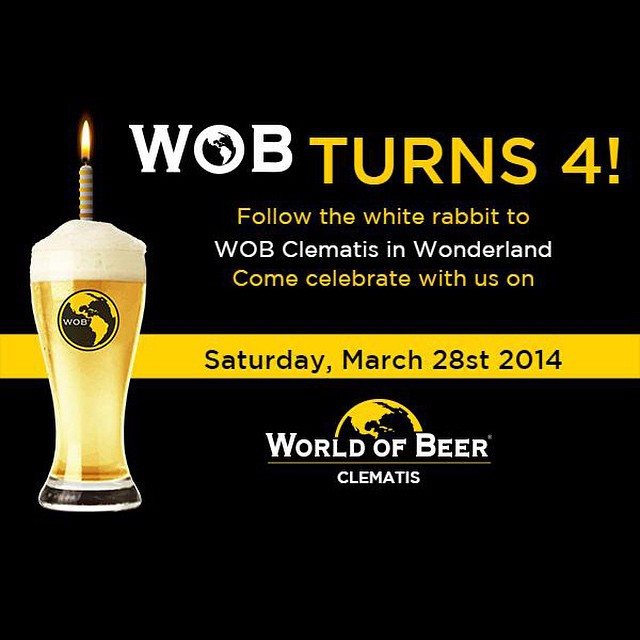 It's @wobclematis 4th Anniversary and they are celebrating all day long with a Wonderland themed party with @cigarcitybrewing. Stop in and join the fun! #downtownwp #ilovewpb #WOBclematis #HappyBirthday