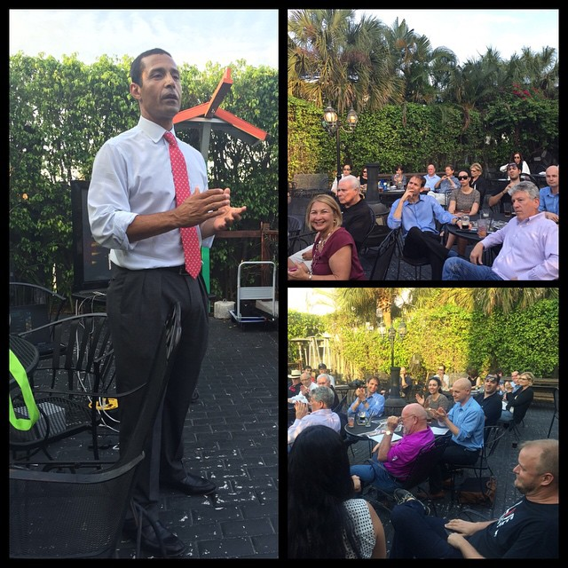 West Palm Beach Downtown Development Authority Executive Dir. Raphael Clemente hosting the first community open forum at @osheaspubwpb sparked by ENGAGE.