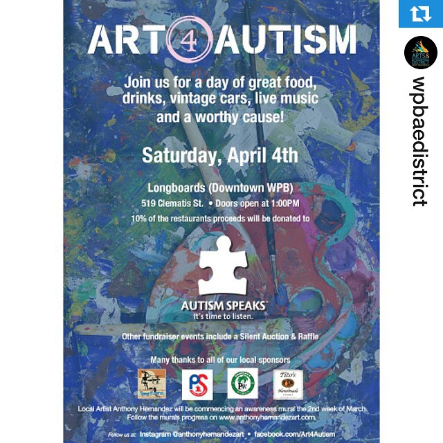 #Repost @wpbaedistrict・・・Come to #Longboards (519 Clematis St) in @DowntownWPB this Saturday for #Art4Autism! Enjoy delicious food, refreshing drinks, live music & a great cause as they celebrate the completion of @anthonyhernandezart's new mural: bit.ly/art4autism15 #wpbARTS #ilovewpb #wpb #westpalmbeach #downtownwpb #sARTurday #saturday #thingstodo #awareness #autism #art #mural #anthonyhernandez #autismawareness