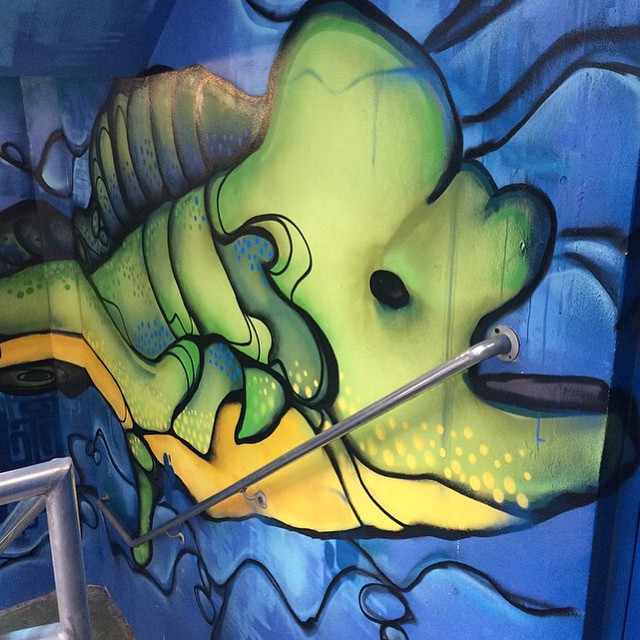 Thanks for the post @pbpost! We love #MuralMonday in #DowntownWPB. Read more about our garage murals on our DowntownWPB.com/Blog. Cool effect of the fish biting on the rail in the Banyan Garage ? #wpbARTS