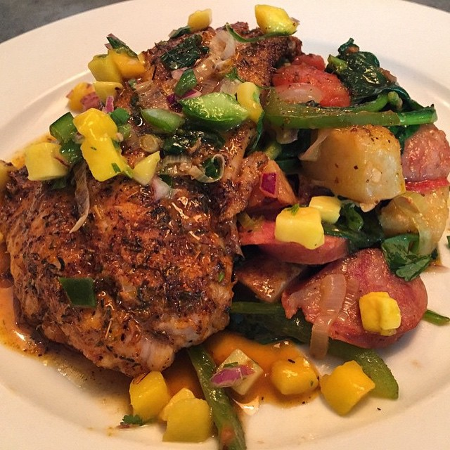 Are you hungry now? Try this dish at @longboardswpb. ・・・ Blackened Red Fish over Andouille Sausage Hash for $22. Don't forget Happy Hour is still on until 7pm everyday. See you there! #DowntownWPB #wpb #ilovewpb #clematis #500block #seafood #happyhour #feastpb