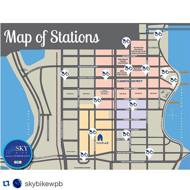 #Repost from @skybikewpb ・・・ These are the #SkyBikeWPB stations that will be available to you next month. Join today at www.skybikewpb.com - #BikeShare #WestPalmBeach #downtownwpb #ilovewpb #wpb #thepalmbeaches #palmbeachesfl