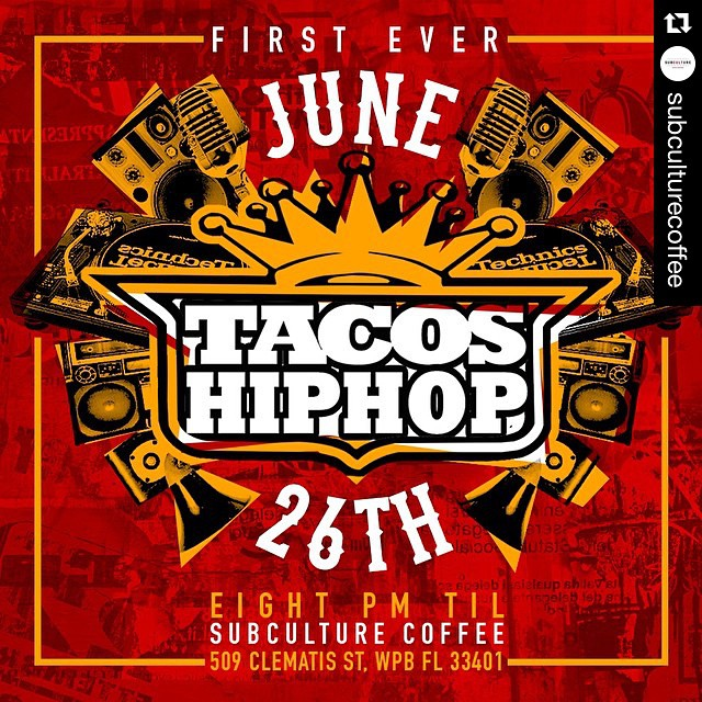 SAVE THE DATE! ・・・ Next month @subculturecoffee brings you #tacosandhiphop