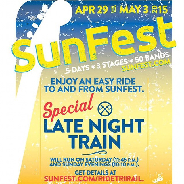 @trirail has a special late night train this Saturday and Sunday for @sunfest goers! Visit SunFest.com for more details. #SunFestFL #LIVEmusic #downtownwpb #ilovewpb