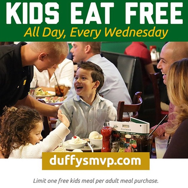 Don't forget kids eat free at @duffysmvp located at 225 Clematis St. #Duffys #downtownwpb #kidseatfree!