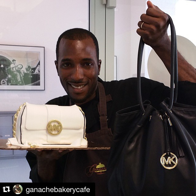 Now that's some fashion baking!  @ganachebakerycafe located at 120 S. Dixie Hwy. created this  Michael Kors cake ?? #michealkors #pursecake #fashion #cake #westpalmbeach #wpb #ganachebakerycafe  #dessert #diva #florida #cakeart #downtownwpb