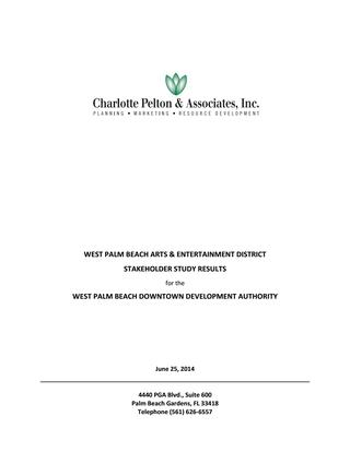 2014 West Palm Beach Arts & Entertainment District Stakeholder Study Results - Charlotte
